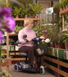 woman on scooter in garden shop